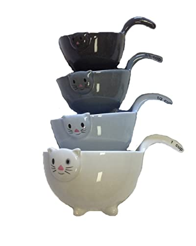 Ceramic Cat Measuring Cups with Tail Handles - Cat lovers will love to get these cat measuring cups as a gift!