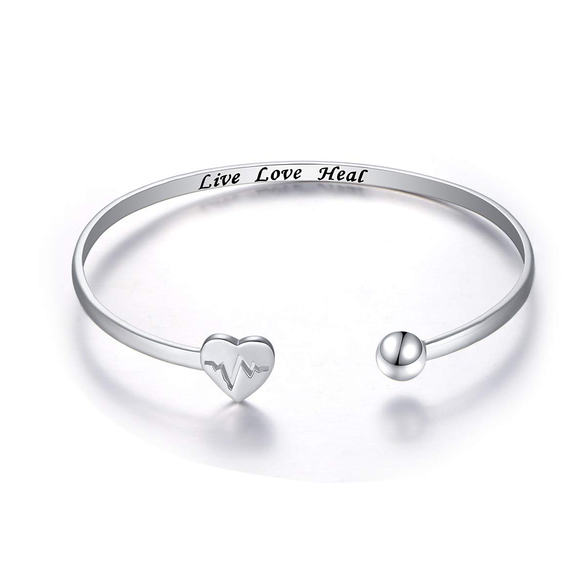 S925 Sterling Silver Live Love Heal EKG Heartbeat Adjustable Open Cuff Heart Bangle Bracelet for Nurse Doctor Medical Student Graduation Gift