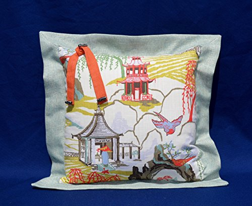 Japanese Garden Collection # 134 Aqua Beige Decorative Pillow 18