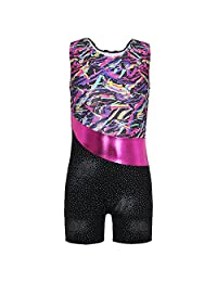 DAXIANG Little Girl One Piece Colourful Ribborns Pink Flowers Gymnastic Athletic Leotard