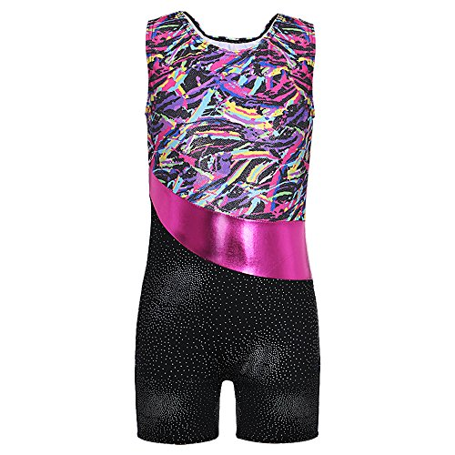 Colorful Ribbons Rainbow Shiny Sparkles Gymnastics Biketard for Little Girl (170(12-13Y), Colorful (Biketard Dress)