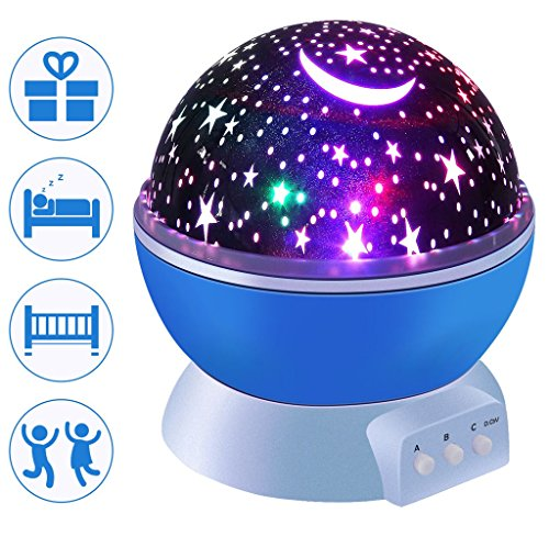 Baby Night Light  Starry Night Light  Led Star Projector Lamp 360 Degree Rotation Constellation Bedside Table Lamp With Usb Cable For Baby Nursery  Night Lights For Kids  Blue