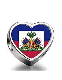 HaiTi flag Heart 92.5 Solid Sterling Silver Delicated Charms Bracelet Necklace Beads Waist Beads 6mm Hole Craft Metal Beads floating Charms for Women