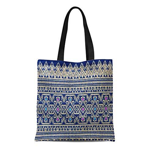 Semtomn Canvas Tote Bag Shoulder Bags Batik Black Asia Thai Silk Pattern Yellow Asian Beautiful Women's Handle Shoulder Tote Shopper Handbag