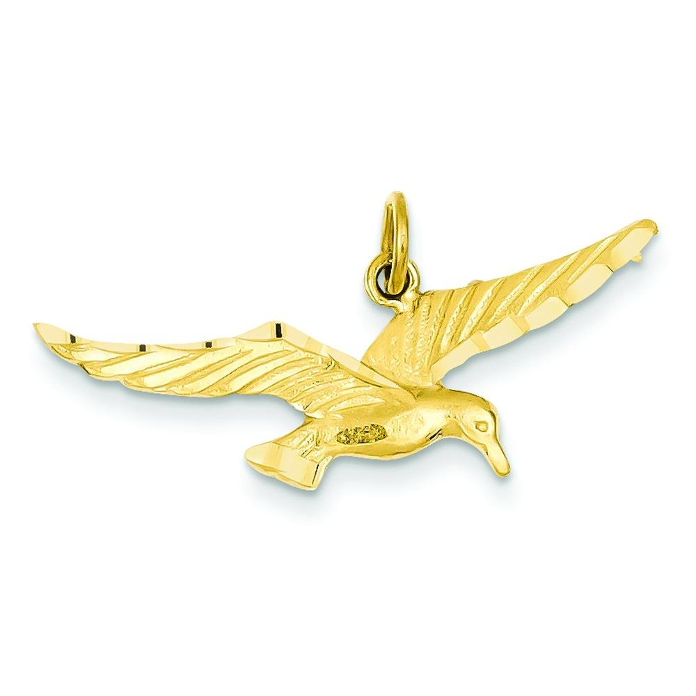 14K Yellow Gold Flying Seagull Charm Bird Jewelry