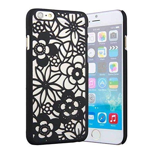 Jellybean Coque arrière rigide Motif damassé Housse étui avec découpe fleur creux Ultra Fine pour Apple iPhone 6–Noir