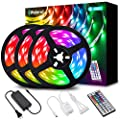 LED Strip Lights, Elfeland 39.3FT/12M 5050 RGB Light Strips Color Changing Rope Lights Flexible Tape Light Kit with 44 Keys IR Remote Controller & 12V 5A Power Supply