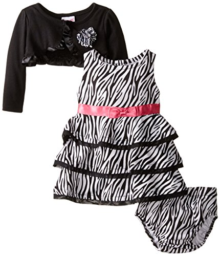 Nannette Girls' Baby-Infant Printed Ponte Knit Dress with Mock Shrug and Panty, Black 12 -