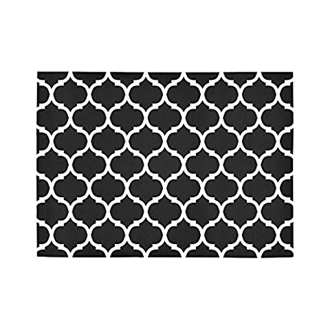 Custom Moroccan Trellis Quatrefoil Teal Area Rug Mat 7' x 5' Feet, Black White Geometric Mosaic Lattice Throw Rayon Fiber Carpet Rugs Cover for Home Living Dining Room - Mosaic Outdoor Rug