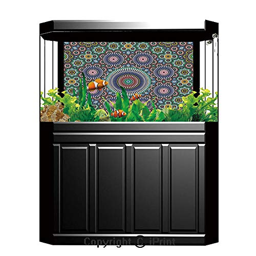 Terrarium Fish Tank Background,Moroccan Decor,Classic Mosaic Design Striped Centered Detailed Craft Work Tile Antiquity Illustration,Photography Backdrop for Pictures Party ()