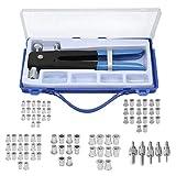 Co-link 86Pcs Steel Hand Rivet Nut Tool Threaded Nut Heavy Duty Blind Rivet Nut Kit Set Riveter Tool Rivet Nut Gun Riveting Tools Included M3/M4/M5/M6/M8