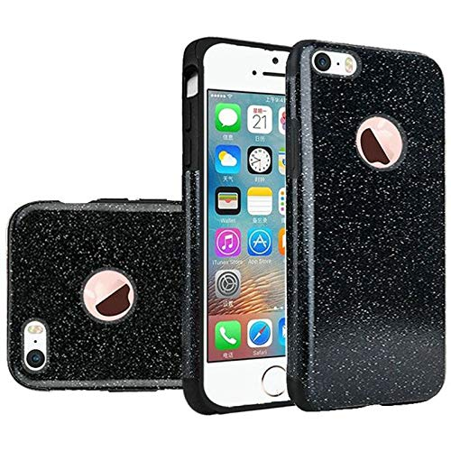 Insten Glitter TPU Rubber Candy Skin Case Cover Compatible with Apple iPhone 5/5S/SE, Black