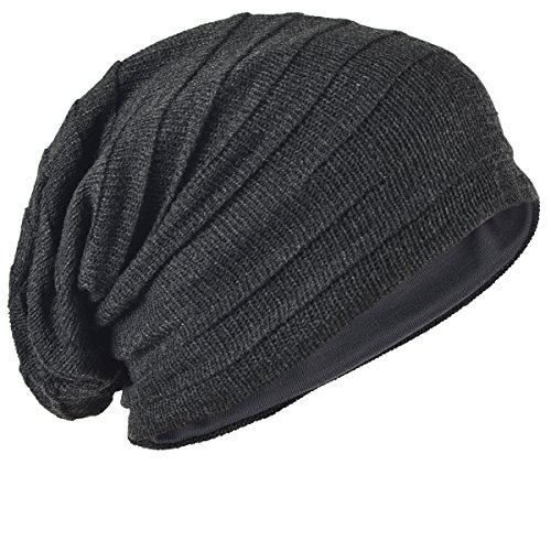 (Men's Slouch Knitted Beanie Hat Crochet Stripe Winter Cap Oversized B318)