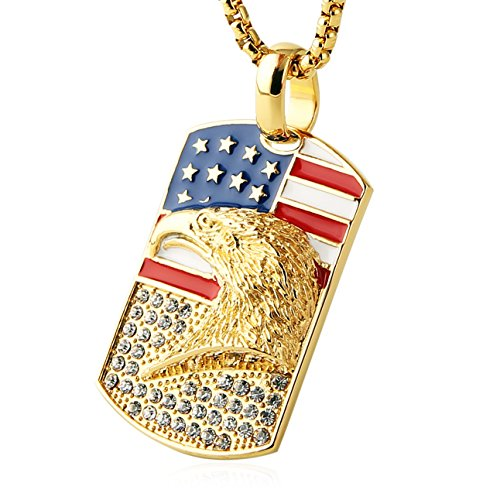 HZMAN Men's 18k Gold Plated Stainless Steel 3D Eagle American Flag Dog Tag CZ Pendant Necklace (Dog Tag)