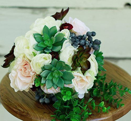 Silk Succulent Blush Burgundy Wedding Bouquet Cream Rose - Silk Bouquet