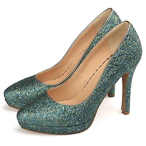 on Kiinteä Pumput Materiaaleja Naisten Vihreä kengät Weipoot Sekoitus Korkokenkiä Pull Todennut toe nqYUwnSf