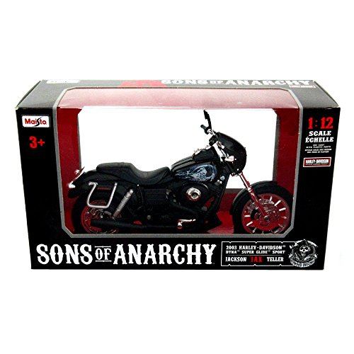 Sons of Anarchy Officially Licensed Maisto Jax Teller Harley Davidson Dyna Super Glide Sport Motorcycle Toy