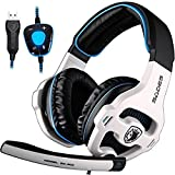 PC Gaming Headset, Sades SA903 Stereo 7.1 Surround Sound USB Wired Computer Headphones with Microphone,Volume Control Over Ear LED Lighting Noise Canceling for Gamers,White/Blue For Sale