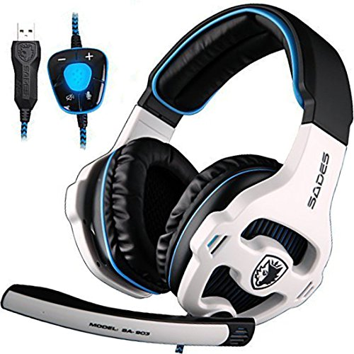 PC Gaming Headset, Sades SA903 Stereo 7.1 Surround Sound USB Wired Computer Headphones with Microphone,Volume Control Over Ear LED Lighting Noise Canceling for Gamers,White/Blue