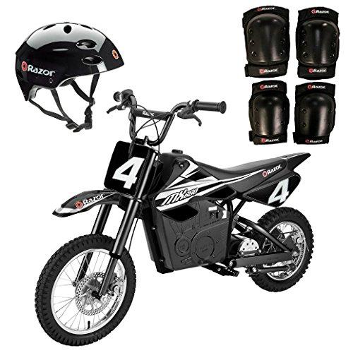 Razor MX650 Electric Dirt Bike + Youth Helmet + Elbow & Knee Pad Safety Set