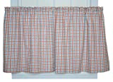 Charlestown Check 68-Inch by 24-Inch Tailored Tier Curtains, Patriot
