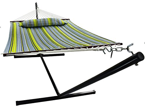 Sorbus Hammock with Spreader Bars and Detachable Pillow, Heavy Duty, 450 Pound Capacity, Accommodates 2 People, Perfect for Indoor/Outdoor Patio, Deck, Yard (Hammock with Stand, Green/Blue) ()