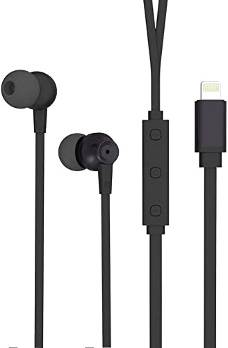 Earbuds Headphones Earphones Lightning Connector MFI Certified with Microphone and Volume Controller for iPhone 11 Pro Max X XS XR iPhone 8 P 7 P Cell Mobile Phone Black
