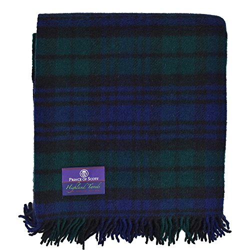 Prince of Scots Highland Tartan Tweed 100% Pure New Wool Throw ~ Black Watch ~