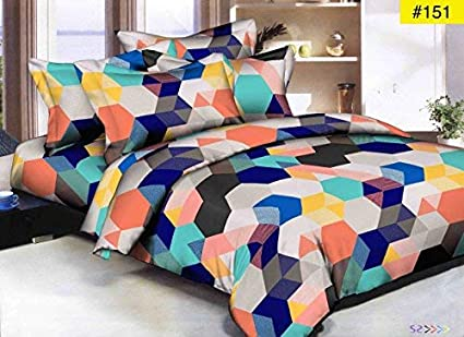 Fresh From Loom Glace Cotton Comforter with 1 Double Bedsheet and 2 Pillow Cover (Multicolour)