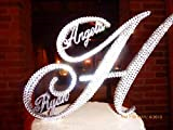 Custom Gorgeous Swarovski Crystal Wedding Cake toppers in Any Letter with FIRST NAMES ADDED inside, monogram custom cake topper, bling cake topper, rhinestone cake topper