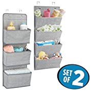 mDesign Over-Door Fabric Baby Nursery Closet Organizers for Blankets, Toys, Wipes - Set of 2, Gray