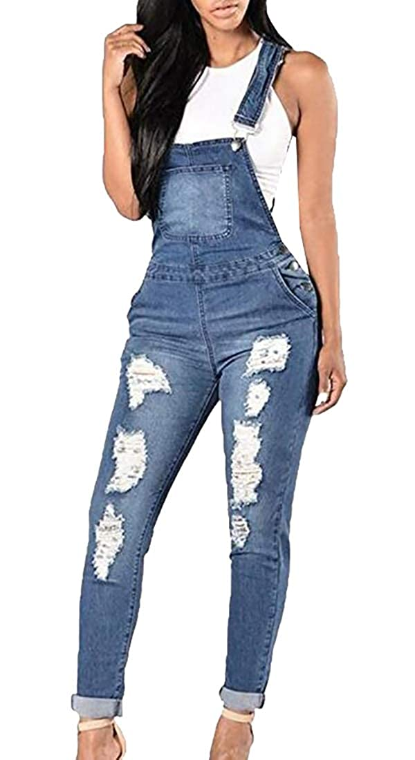 GAGA Womens Fashion Distressed Ripped Jean Skinny Denim Overalls