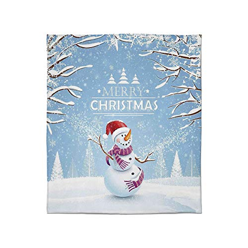 - YOLIYANA Warm Flannel Blanket,Christmas,for Folding Bed Crib, Stroller, Travel, Couch and Bed,Size Throw/Twin/Queen/King,Cute Snowman in a Snowy Winter Day