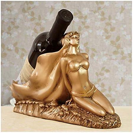 LXLH Estante para vinos Decoración Hogar Salón Europeo Creativo Decoraciones Minimalistas Modernas Porche Arte Vinoteca para gabinetes Exhibición (Color: Oro)