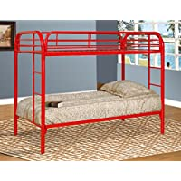 Major-Q Red Metal Tube Supported Twin over Twin Bunk Bed with Build-In 2 Side Ladders & Full Length Guard Rail (SH4501RD)