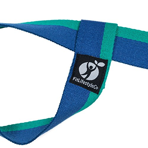 Yoga Mat Strap - Carrying Sling - Durable Cotton - 4 Colors (Dark Blue Light Blue)