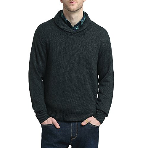 Kallspin Mens Relaxed Fit Shawl Collar V Neck Sweater Merino Wool Blend Thick and Solid (Charcoal, ()