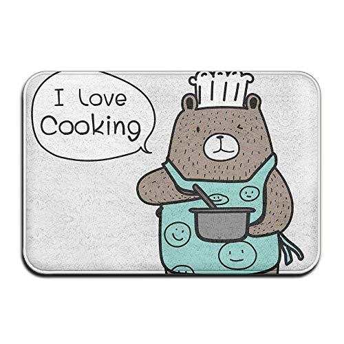 ming dao Brown Bear Wearing Blue Apron Say I Love Cooking Indoor Outdoor Entrance Printed Rug Floor Mats Shoe Scraper Doormat for Bathroom, Kitchen, Balcony, Etc 15.7 X 23.6 Inches