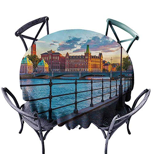 VIVIDX Round Outdoor Tablecloth,Cityscape,Scandinavian Stockholm Old Town Sweden by Lake Gamla Stan View Autumn Day Scenery,Table Cover for Kitchen Dinning Tabletop Decoratio,50 INCH,Multicolor