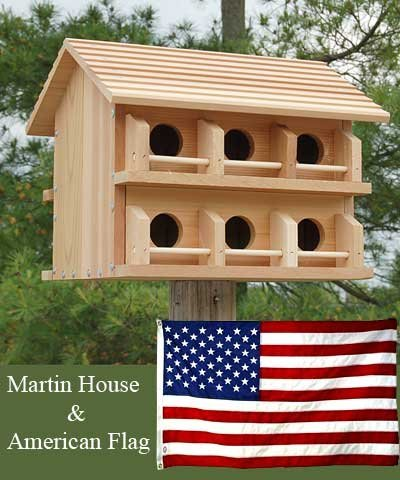 Heath Mounting Plate - BestNest Cedar Purple Martin House & Free 3' x 5' American Flag