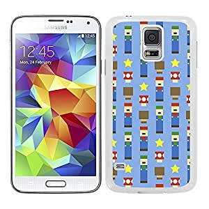 Funda carcasa TPU (Gel) para Samsung Galaxy S5 diseño estampado mario cuadrado borde blanco