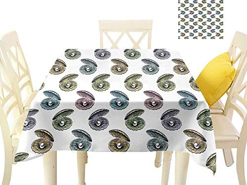 W Machine Sky Oil-Proof and Leak-Proof Tablecloth Pearls Colorful Seashells Hand Drawn Nautical Illustration Aquarium Elements Exotic Theme W60 xL60 Suitable for Buffet Table, Parties, Wedding ()