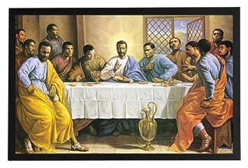 Amazoncom Black Jesus Last Supper Framed Poster Art Print 36x24