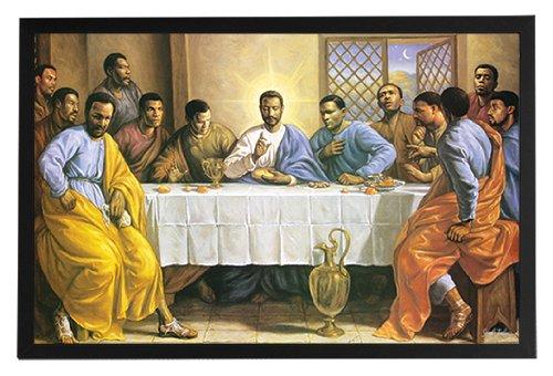 Endearing Frames Black Jesus - Last Supper Framed Poster Art Print 36x24 on a Black Frame. Made in USA.