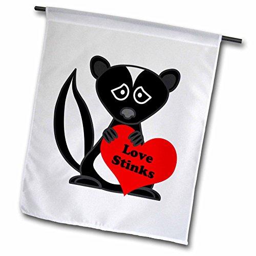 3dRose fl_13799_1 Love Stinks Cute Cartoon Skunk Garden Flag, 12 by 18-Inch