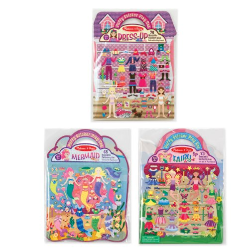 Activity Pad Travel (Melissa & Doug Puffy Sticker Pads Set: Fairy, Dress-Up, and Mermaid - 216 Reusable Stickers)
