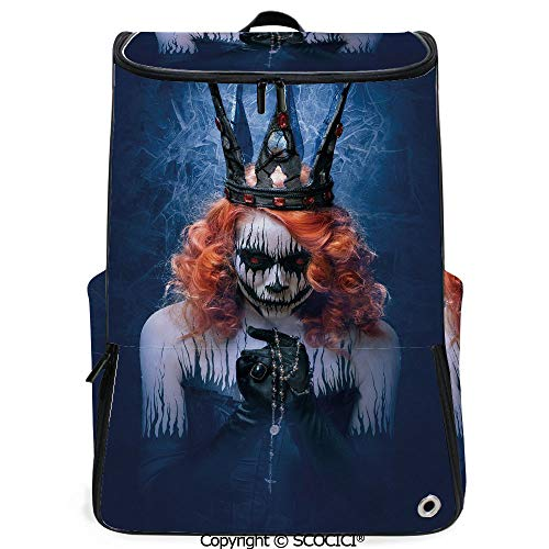 SCOCICI Multi Pocket Backpack,Queen of Death Scary Body Art Halloween Evil Face Bizarre Make Up Zombie,Navy Blue Orange Black,Daypack for Men/Women Hiking -