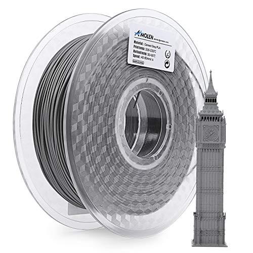 Filamento de impresora 3D AMOLEN PLA, 1.75 mm, carrete gris cemento de 1 kg, incluye muestra de filamento rojo ladrillo