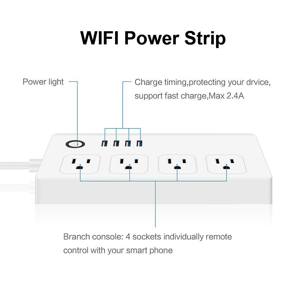 WEILIANTE WiFi Smart Power Strip Socket Plug, 4 AC Outlets 4 USB Ports, Compatible with Alexa, Timer Remote Control Anytime by Smart Phone, Surge Protector