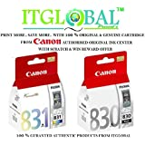Canon 830 & 831 Combo Ink Cartridge [Set of 2 Cartridge] -Special ITGLOBAL Combo with Scratch & Win Offer (PG 830 & CL 831) Black & Color